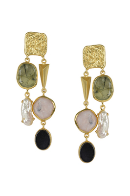 Golden Earrings with Labrorite Viva Pearl Pink Opal and Black Onex Stones