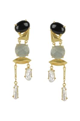 Golden Earrings with Black Onex Green Aventurine and Viva Pearl Stones