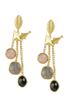 Golden Earrings with Pink Opal Labririte Black Onex Stones