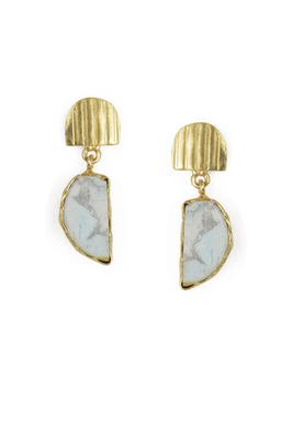 Golden Earrings with White Glass Bhatti Stone
