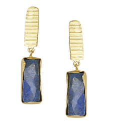Golden Earrings with Lapis Stone