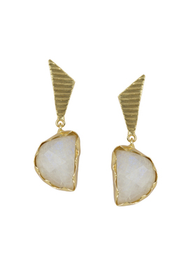 Golden Earrings with White Moon Stone