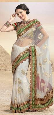 Full net zari thread work buti saree