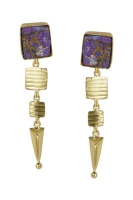Golden Earrings with Purple Copper Bhatti Stone