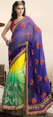 Half net half georgette thread zari work  saree