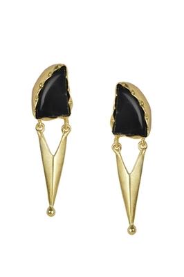 Golden Earrings with Black Onex Stone