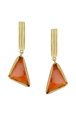 Golden Earrings with Citrin Orange Glass Stone