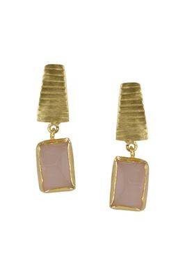 Golden Earrings with Rose Quartz Stone
