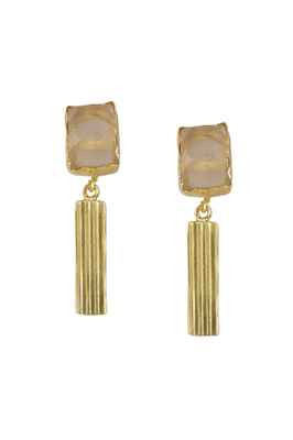 Golden Earrings with Rose Quartz