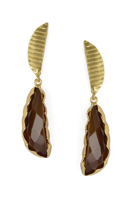 Golden Earrings with Smokey Stone