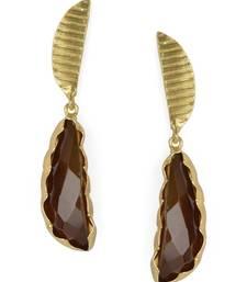 Golden Earrings with Smokey Stone