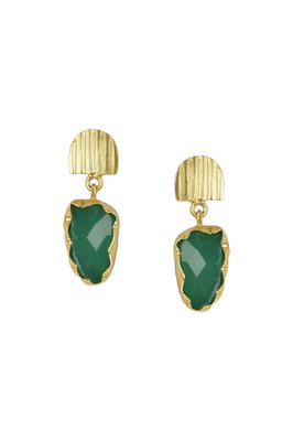 Golden Earrings with Green Onex Stone