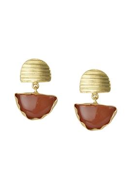Golden Earrings with Red Cornilian Stone