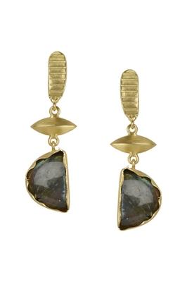 Golden Earrings with Lebrorite Stone