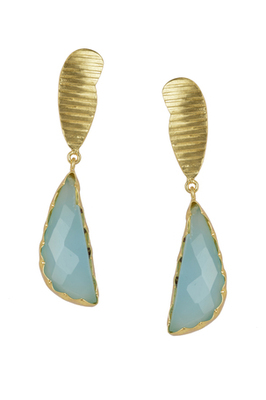 Golden Earrings with Aqua Stone