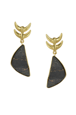 Golden Earrings with Black Copper Bhatti Stone