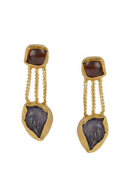 Labradorite,Amethyst with Golden Earrings