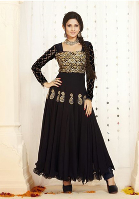 0bebe16f9 Black georgette embroidered semi stitched salwar with dupatta - Saiveera  Fashion - 1212964