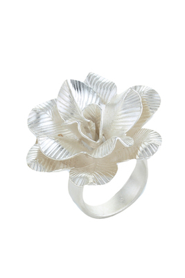 Silver Rose Petals Floral Contemporary Valentine Ring For Women