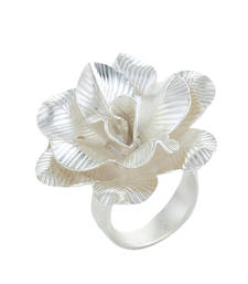 Buy Silver Rose Petals Floral Contemporary Valentine Ring For Women engagement-ring online