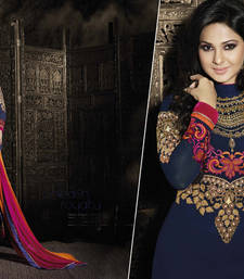 Buy Blue georgette embroidered semi stitched salwar with dupatta bollywood-salwar-kameez-online online
