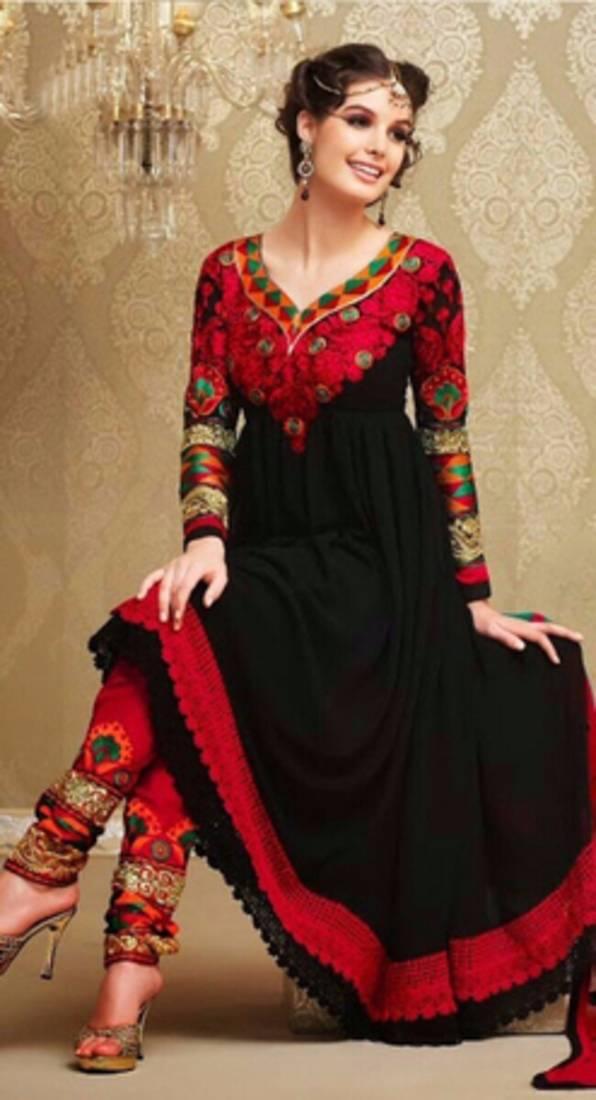 574816242c Black georgette embroidered semi stitched salwar with dupatta ...