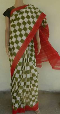 DOUBLE IKAT HANDWOVEN COTTON SAREE