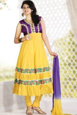 Lemon Yellow Cotton Readymed Embroidered Party and Festival Anarkali Salwar Kameez