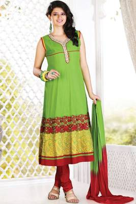Lime Green and Venetian Red Cotton Festival Readymed Anarkali Salwar Kameez