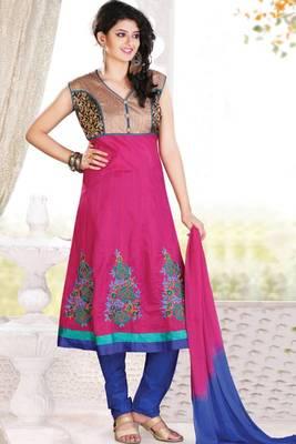 Magenta and Dark Blue Cotton Readymed Embroidered Festival Anarkali Salwar Kameez
