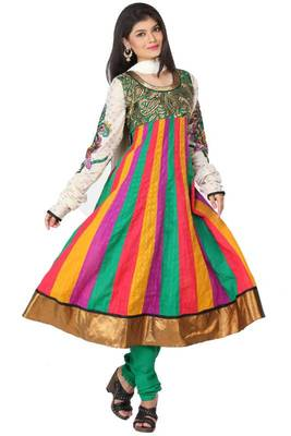 Multicolor and Jade Green Cotton readymed Embroidered Anarkali Salwar Kameez