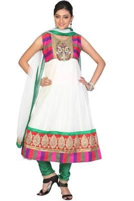 Off-white and Jungle Green Super Net Embroidered Party Readymed Anarkali Salwar Kameez