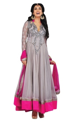 Triveni Charismatic Grey Indian Traditional Anarkali Suit TSXSNSK5551