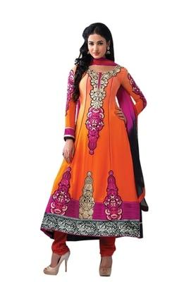 Triveni Charismatic Orange Indian Traditional Anarkali Suit TSXSNSK5553