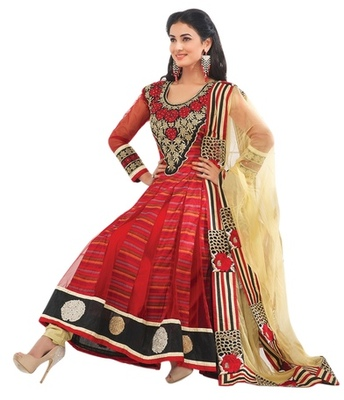 Triveni Charismatic Red Indian Traditional Anarkali Suit TSXSNSK5558