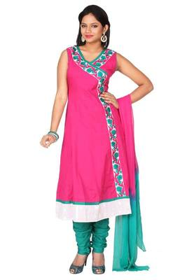Persian-rose Pink and Jungle Green Cotton Readymed Embroidered Anarkali Salwar Kameez