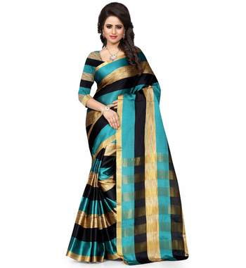 rama green plain cotton poly saree With Blouse