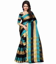 Buy rama green plain cotton poly saree With Blouse cotton-saree online