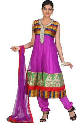 Purple Net Embroidered Party and Festival Readymed Anarkali Salwar Kameez
