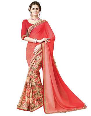 Red Printed Georgette Saree With Blouse
