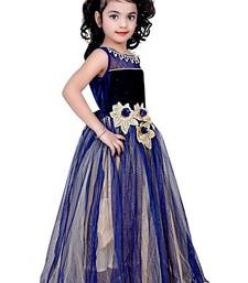 Buy Blue color net and viscose fabric designer party wear frock kids-frock online