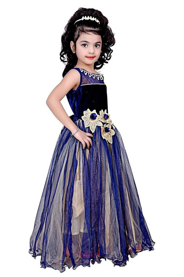 Bed sheets designs for kids - Buy Blue Color Net And Viscose Fabric Designer Party Wear Frock Online