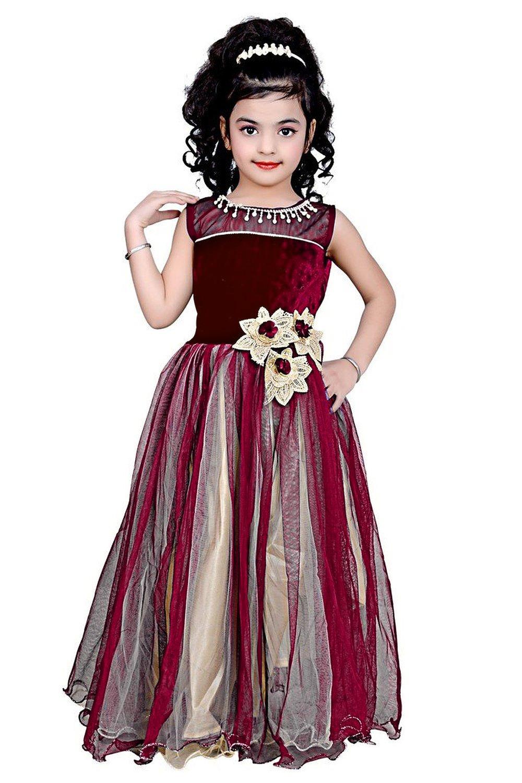 b80ba3e9890d Maroon color net and viscose fabric designer party wear frock - Fablica -  1215006