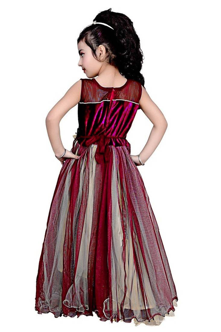 Buy Maroon Color Net And Viscose Fabric Designer Party