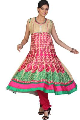 Wheat Brown and Deep Cerise Pink Cotton Readymed Embroidered Anarkali Salwar Kameez