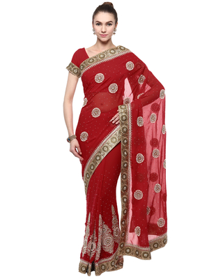 Maroon hand woven georgette saree With Blouse