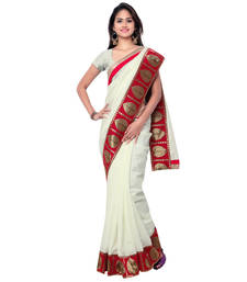 Buy White hand woven banarasi silk saree with blouse party-wear-saree online