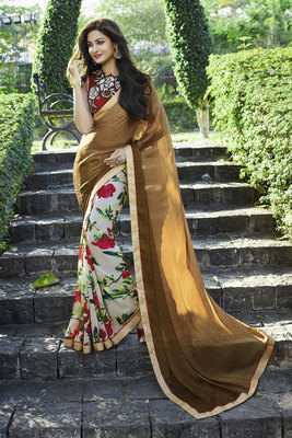 brown printed jacquard saree With Blouse