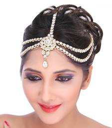 Buy Classic Trendy Design Matha Patti For Wedding Gold Finishing in White hair-accessory online