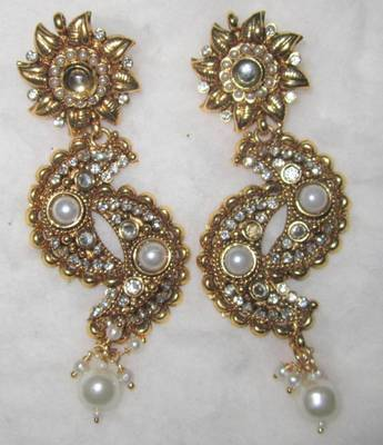 GOLD TONE POLKI PEARL  DANGLER Bollywood  EARRING PAIR